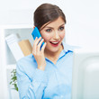 Portrait of happy surprised business woman on phone in white of