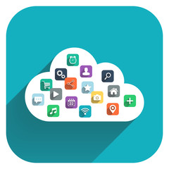 Cloud computing. Cloud icon with color icons set.