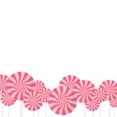 Pink lollipops background. Vector illustration.