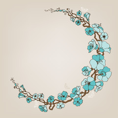 Round small blue flowers decoration or frame