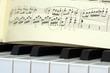 Leinwanddruck Bild - Klaviertasten mit Noten