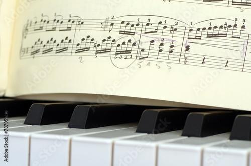 Leinwanddruck Bild Klaviertasten mit Noten