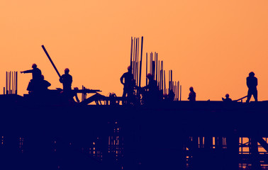 Industrial Construction Site Sunset Concept