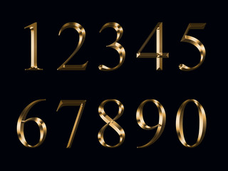 gold figures, isolated on a black background