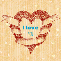 I love you typing over heart wreath, Valentine's Day concept car
