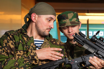 Training young soldier in dash