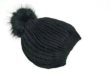 Black Knitted Wool Winter Ski Hat with Pom Pom