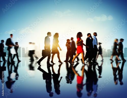 canvas print picture Business People Commuter Corporate Cityscape Pedestrian Concept