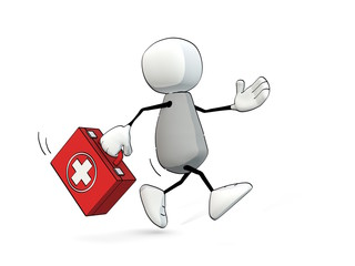 little sketchy man hurrying with first aid box