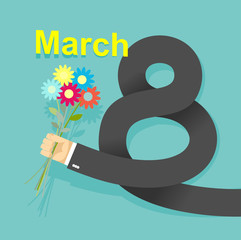 8 march. Businessman hand holding bouquet of  flowers