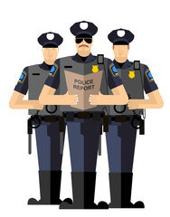 Three police officers were arrested. Police silhouette. The Arre