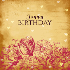 Vintage floral background, birthday card