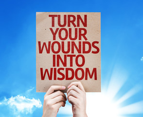 Turn Your Wounds Into Wisdom card with sky background