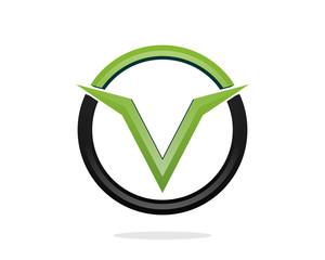 Victory Line Circle Letter V