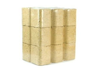 A multipack of wooden briquettes on a white background
