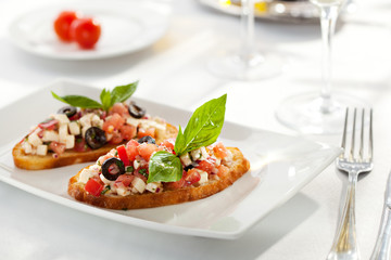 Tomatoes and Cheese Bruschetta