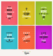 Set of Positive Quote Typographical Background