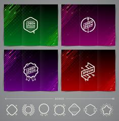Set of template leaflet page design with hipster emblem