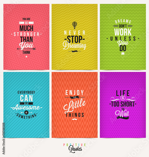 Set of Positive Quote Typographical Background Plakat
