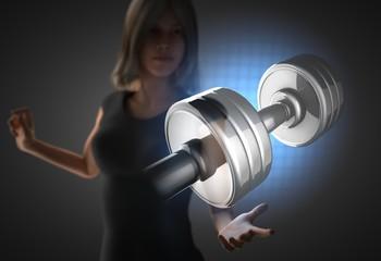 woman and futusistic hologram