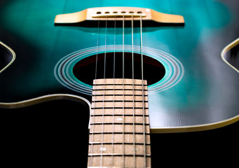 acoustic guitar, black and green color
