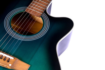 part of the acoustic guitar, isolated on a white