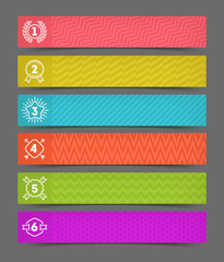 Set of abstract banner with line drawn hipster number emblems