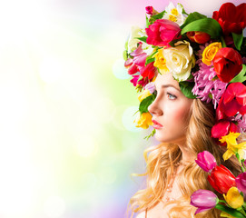 Spring portrait - hat of flowers