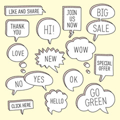 Hand drawn speech bubbles / callouts set. Vector illustration