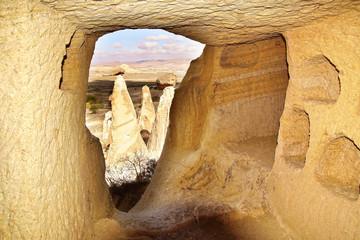 Room in cave city in Cappadocia, Turkey