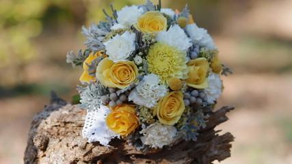 Wedding yellow bouquet outdoor.Isolated.