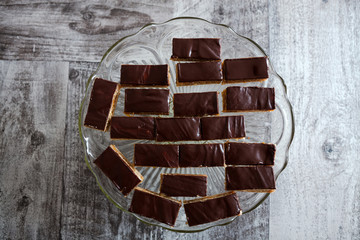 Slices of chocolate cakes