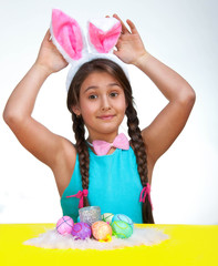 happy little girl with eggs. Easter photo