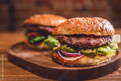Spoed canvasdoek 2cm dik Restaurant Fresh burger on wooden table.