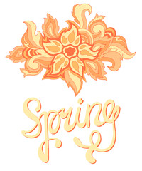 Ethnic ornamental boho spring background with place for text.