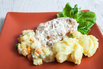 Meat potato and vegetables for lunch