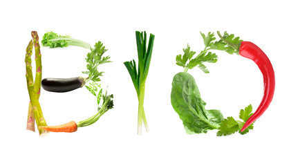 Word Bio made of vegetables isolated on white