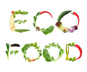 Phrase Eco Food made of fruits and vegetables isolated on white