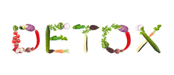Word Detox made of vegetables isolated on white