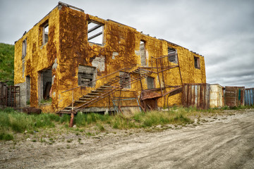 Old destroyed building in north yakutian settlement Chokurdakh