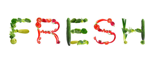 Word Fresh made of vegetables isolated on white