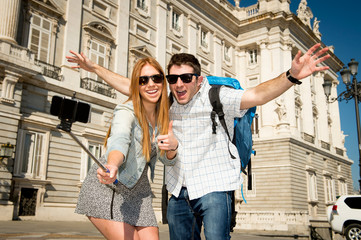 friends tourist couple on students exchange taking selfie