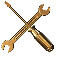 screwdriver and golden key