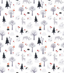 Vector pattern with deers and trees