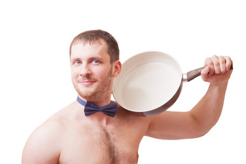 Attractive man holding a frying pan