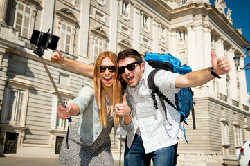 friends tourist couple visiting Spain happy taking selfie pic