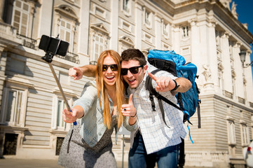 friends tourist couple visiting Madrid  taking selfie photo