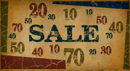 Sale written on vintage paper textures
