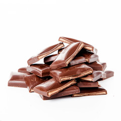 Chocolate bars stack isolated on white background.  Chocolate bl