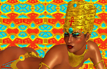 Egyptian, Cleopatra in our modern digital art style, close up